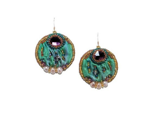 Free shipping USA & Canada. Bead Embroidered Drop Earrings with Swarovski Cabochons, Shibori Silk, Freshwater Pearls. Green Purple Earrings