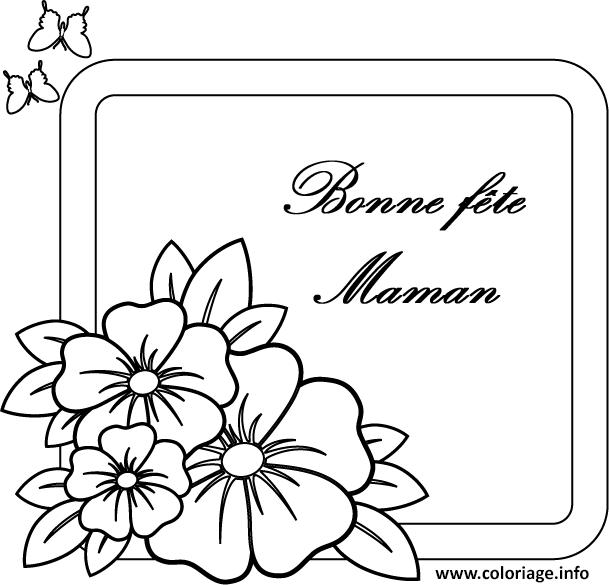 Coloriage Carte Simple Bonne Fete Maman Jecoloriecom