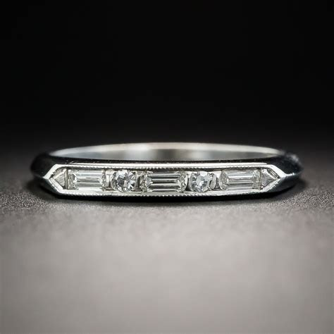 Vintage Platinum Alternating Baguette and Round Diamond