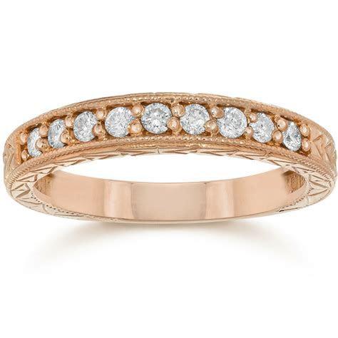 1/4ct Engraved Genuine Diamond Womens Wedding Ring 14K