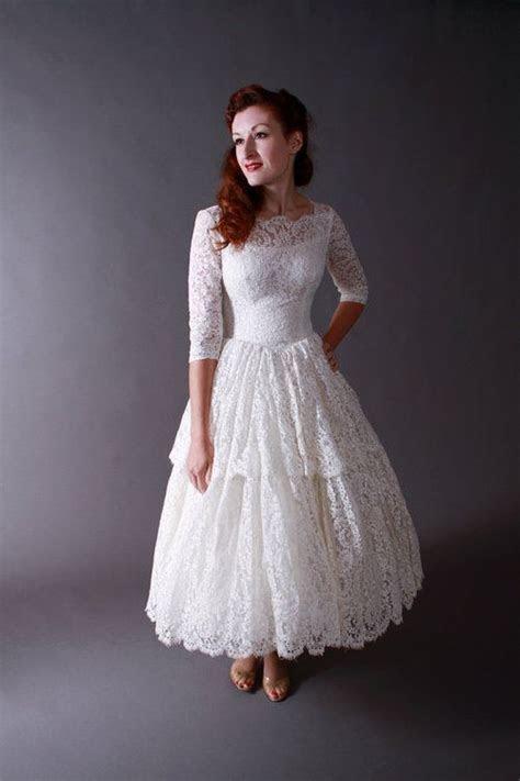 Lace Tea Length Wedding Dress with Long Sleeves like the