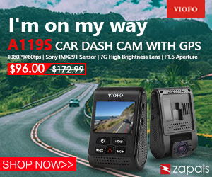 Get the discount price of  USD$96.00 for VIOFO A119S 1080P Car Dash Cam Sony Exmor IMX291 with GPS Mount at Zapals 2nd Anniversary.