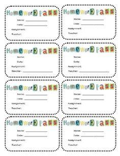 Cute Owl Themed Homework Passes (Printable)   Classroom ...