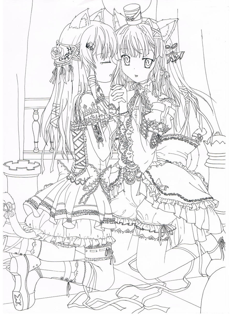 Line art manga neko girls by sakuranohana1980 on DeviantArt