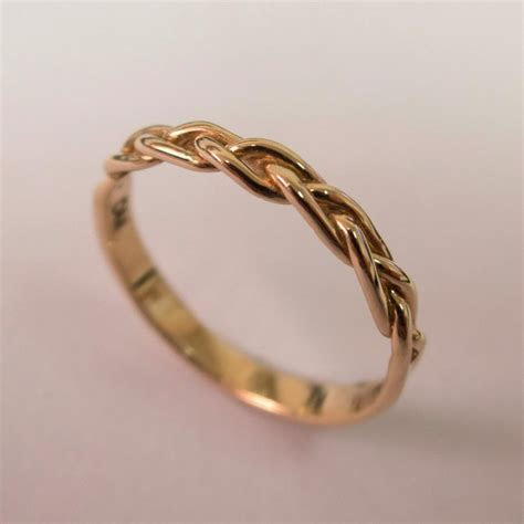 Braided Ring No.4   14K Rose Gold Stackable Ring , Wedding
