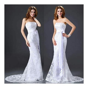 Latest Elegant White Lace Long Strapless Backless Mermaid