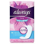 Procter & Gamble Distributing LLC, 37000082828, Always' Thin Daily Liners, 60/pk, Unscented, Wrapped, Regular