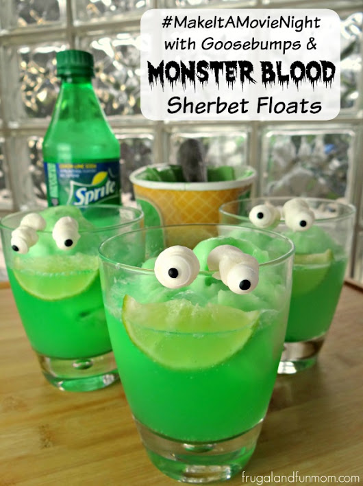 Goosebumps Inspired Monster Blood Sherbet Floats With Lawn Gnome Popcorn! #MakeItAMovieNight - Frugal and Fun Mom/ Florida Mom Blog, Recipes, Crafts, Family Fun