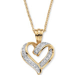"""Diamond Accent Looped Heart Pendant Necklace 18"""""""