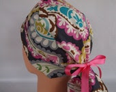 Lacy Paisley Ponytail - Womens surgical scrub cap, scrub hat, Nurse surgical cap/hat, Bakers hat, 45+8010 ow