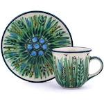 Polish Pottery UNIKAT Espresso Cup with Saucer 3 oz Prairie Land Pattern by Ceramika Artystyczna