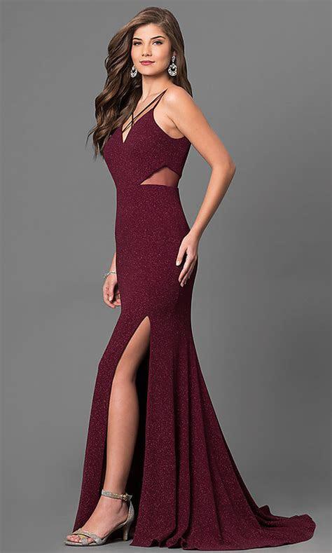 Long Metallic Jersey Burgundy Red Prom Dress PromGirl