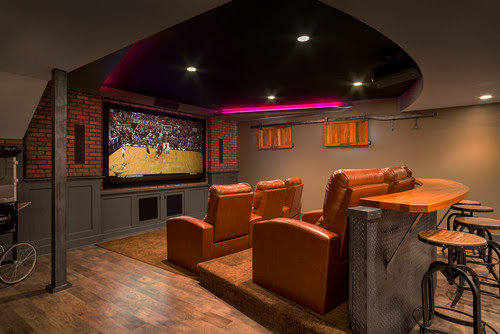 Really Cool Basement Interior Design Photos - Basement Home Movie Theater  | Live Love in the Home