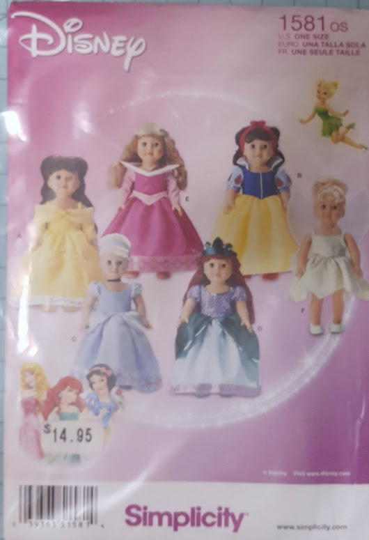 Simplicity 1581 Disney 18 Doll Costumes by VintageSewingShoppe