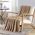 "Plazatex Dama Embossed Scroll Pattern Soft & Cozy Throw Blanket - 50x60"" - 50x60"" Tan Scroll"