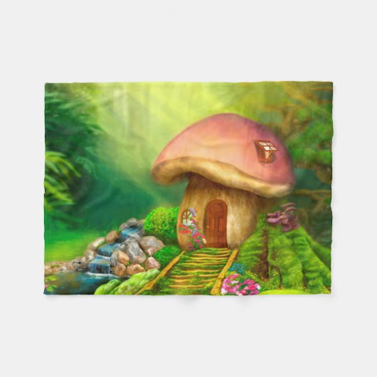 Fantasy mushroom cottage house fleece blanket