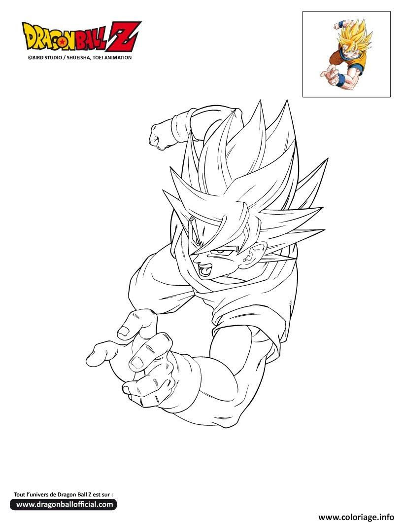 Coloriage Dbz Goku Passe A L Attaque Dragon Ball Z Officiel