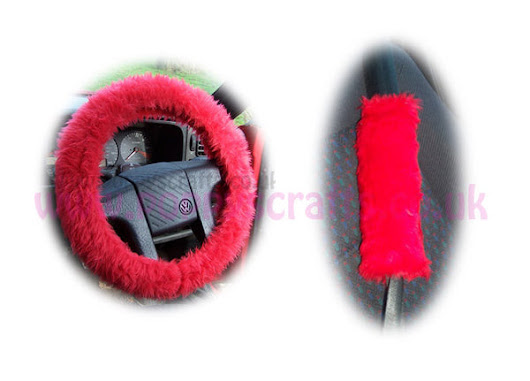 Racing red fuzzy faux fur car steering wheel cover and seatbelt pads – Poppys Crafts
