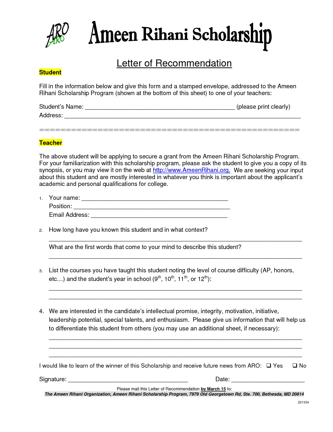 Recommendation Letter Sample For Scholarship From Teacher ...