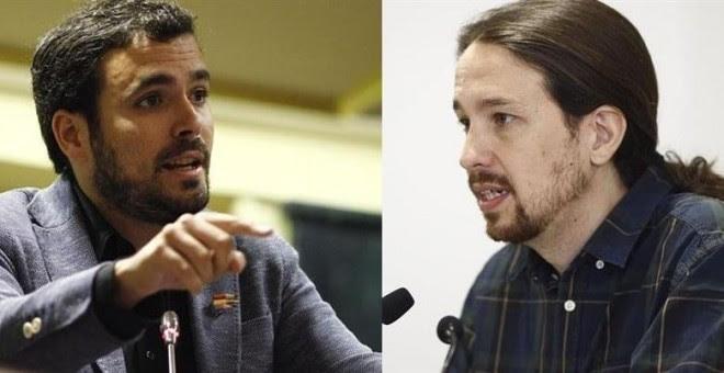 Foto de archivo de los líderes de IU y Podemos, Alberto Garzón y Pablo Iglesias, respectivamente. / EP