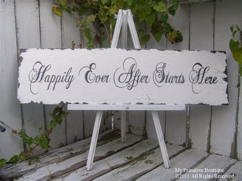 HAPPILY EVER AFTER Starts Here Sign, Wedding Sign, Shabby