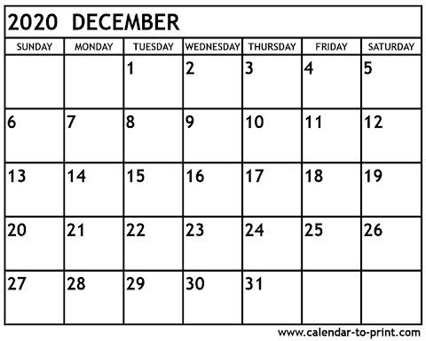 2020 Calendar Free Printable Uk