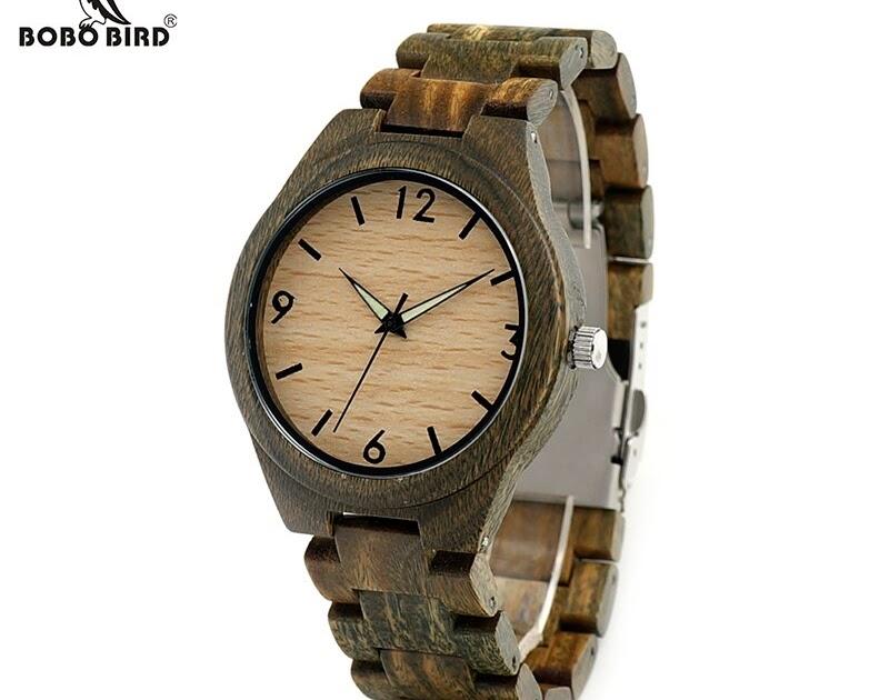 9f6b0bce354c 211biblical  Comprar Bobo Bird V I18 Hombres Verde Sandal Wood Reloj  Luminoso Mano De Cuarzo Con Correa Sándalo Relojes Mannen Online Baratos