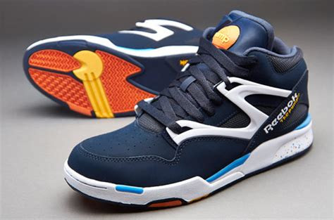 reebok pump omni lite mens select footwear reebok navy white athletic blue orange yellow