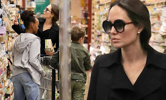 Angelina Jolie grocery shops for her six children