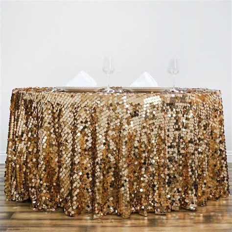 "120"" Big Payette Gold Sequin Round Tablecloth   Premium"