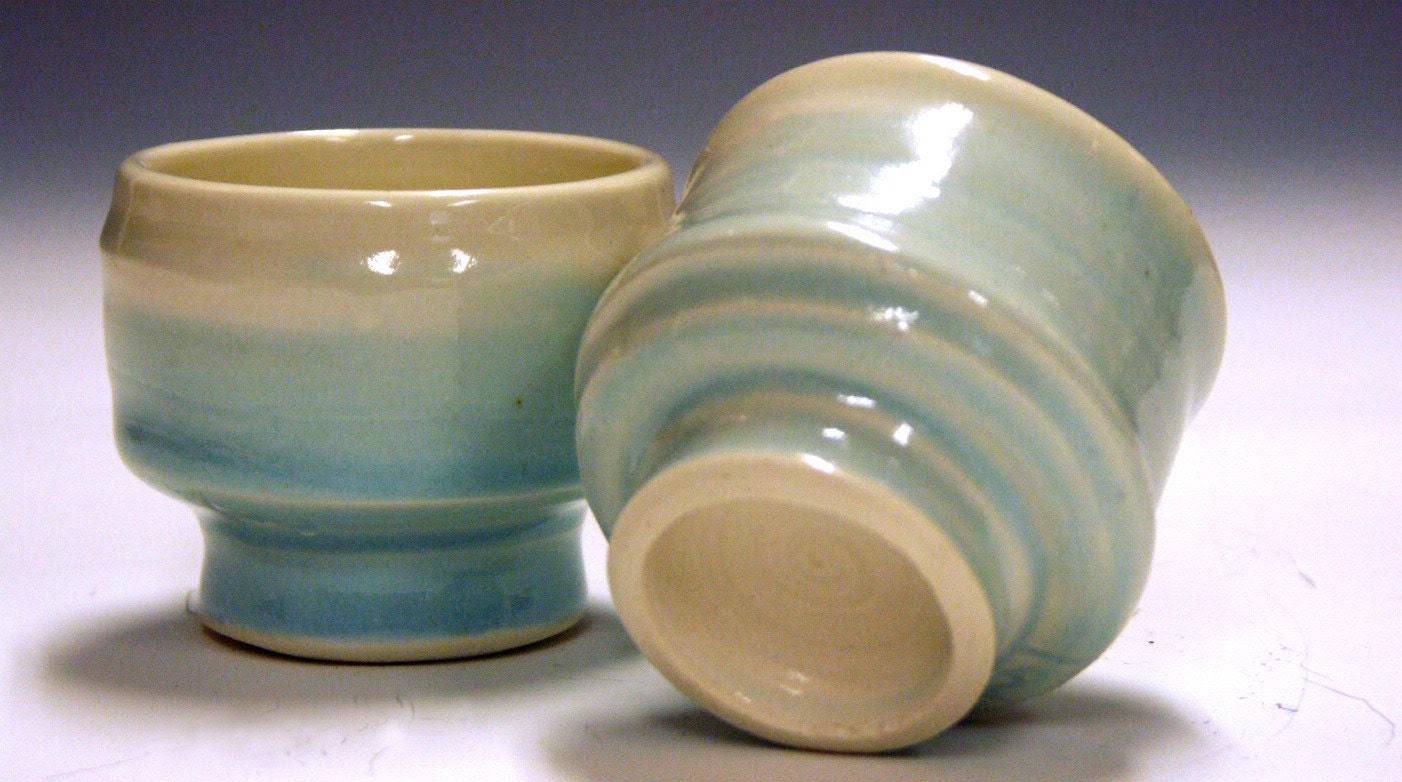 Ceramic porcelain celedon tea bowls for zen meditation and yoga pauses