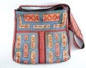 Rare blue vintage tribal cross-body bag,  Flowers pattern on Hmong hill tribe embroidery, Gypsy/bohemian style