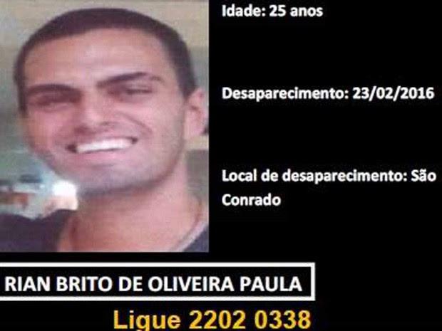 Rian, fIlho de Nizo Neto está desaparecido (Foto: Reprodução/Facebook)