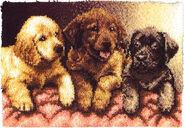 Caron Wonderart Latch Hook Kit Lab Puppies
