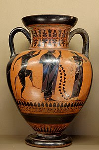 Guci buatan Exekias yang berhiaskan gambar Dyonisos, satyr, dan mainad