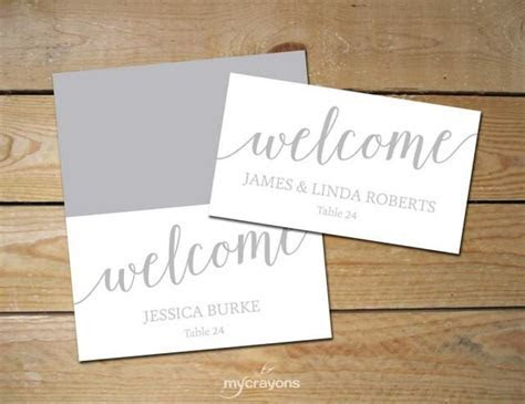 Printable Place Cards Silver, DIY Place Cards // Grey