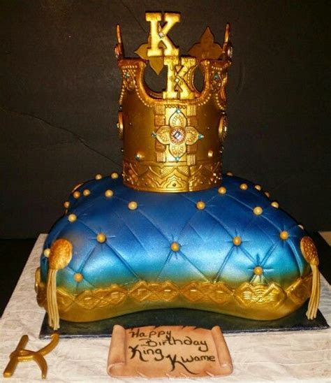 Pillow cake with a crown for a king topper.   Sistaz Cakes