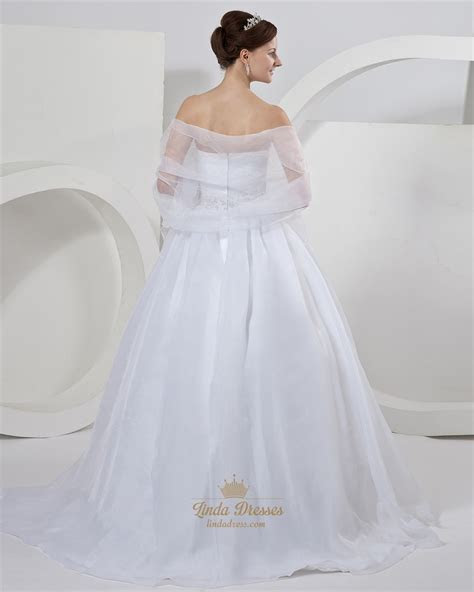 white organza ball gown strapless wedding dresses
