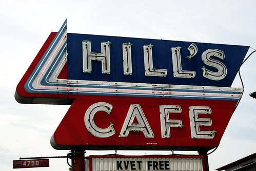 hill's cafe neon sign