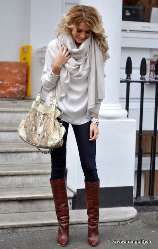 boots. skinnies. flowy top. scarf.