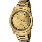 Seiko Men's 5' Japanese Automatic Gold-Tone-Stainless-Steel Casual Watch, Color:Gold (Model: SNKE56)