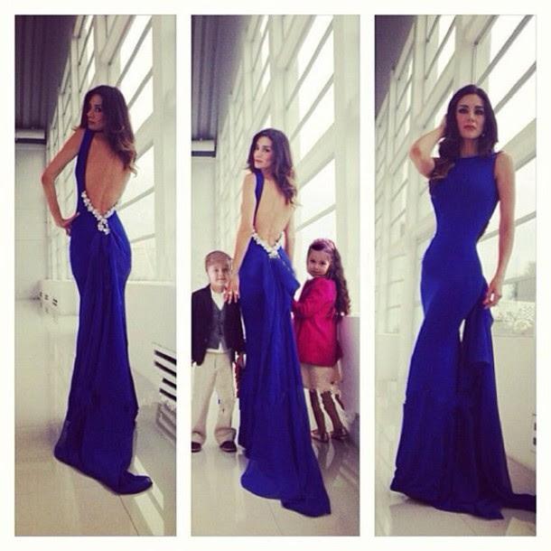 Blue evening long dress
