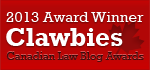 2013 Canadian Law Blog Awards Winner