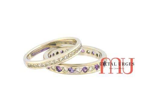 Diamond and purple sapphire 18ct white gold wedding rings