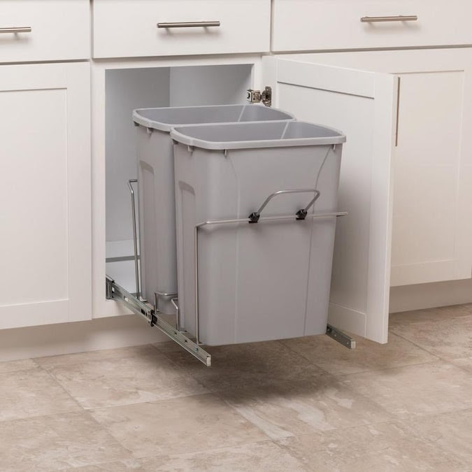Simply Put 35 Quart Plastic Pull Out Trash Can In The Pull Out Trash Cans Department At Lowes Com