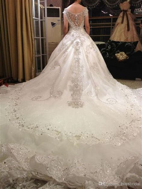 Hot Luxury V Neck Ball Gown Long Train Silk Organza Lace