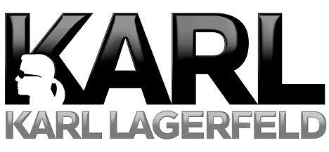 Branding: logotipo da coleção - que é impresso em botões de roupas características silhueta famoso Lagerfeld