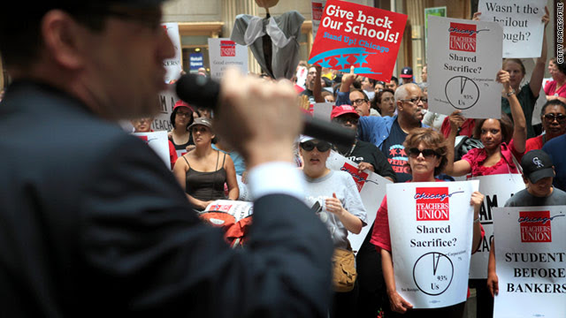 Jesse Sharkey, vice president of the Chicago Teachers Union, speaks to teachers during a protest in Chicago on June 22.