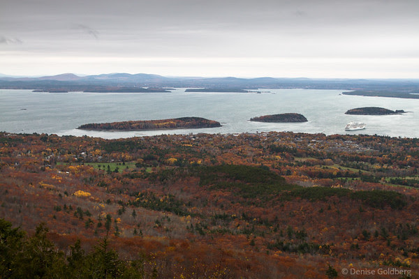 autumn colors on the side of Cadillac Mountain, looking towards the Porcupine Islands