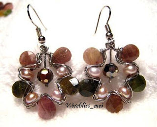 Wire Wrapped Tourmaline Briolettes & Pearl Earrings